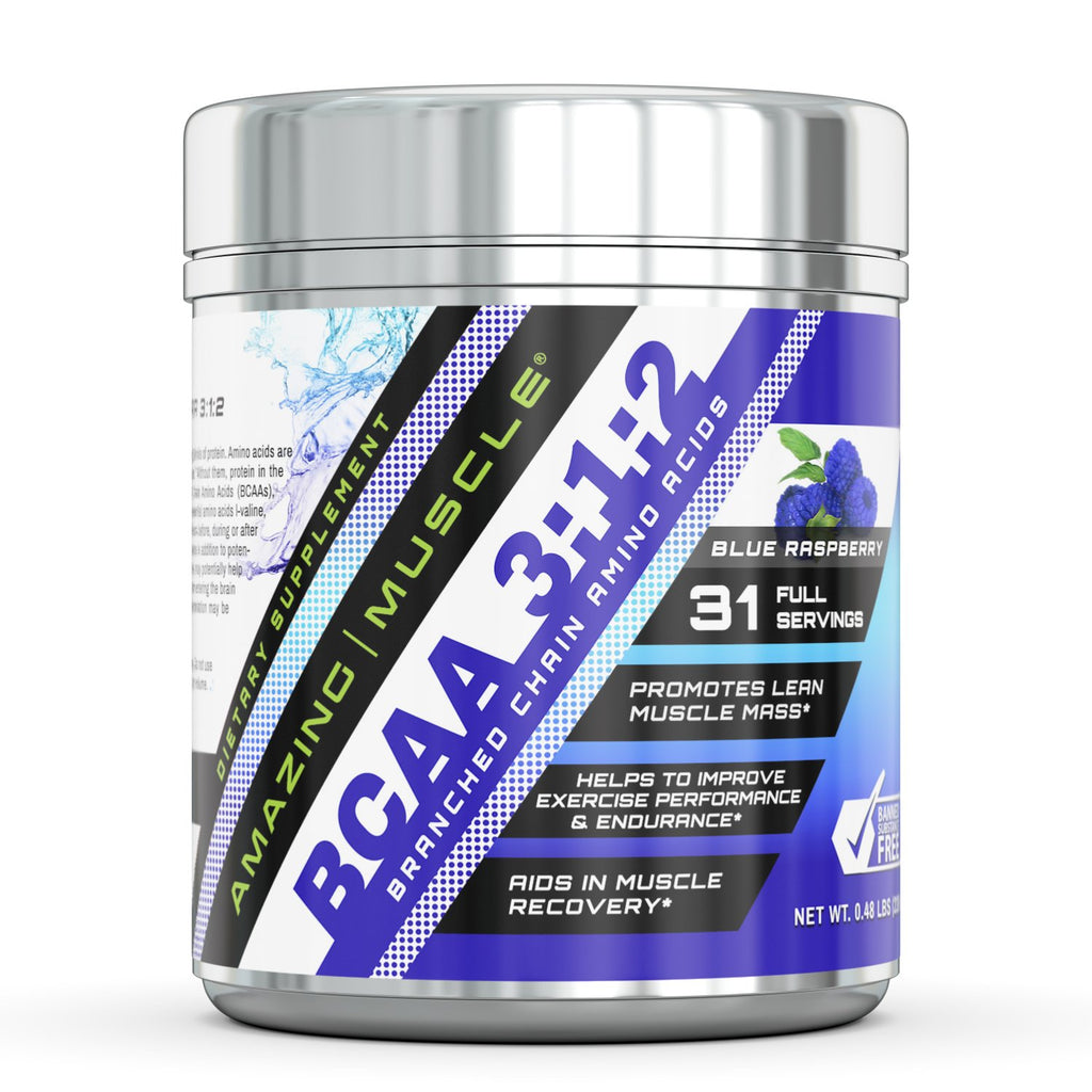 Amazing Muscle BCAA 3:2:1 with Natural Flavor & Sweetners - 60 Servings (Blue Raspberry)