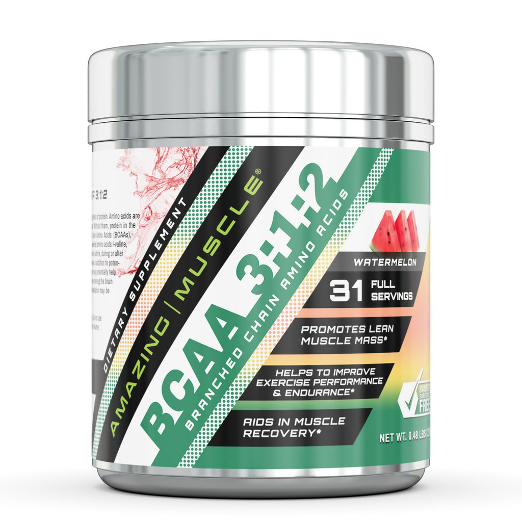 Amazing Muscle BCAA 3:2:1 with Natural Flavor & Sweetners - 60 Servings (Wild Berry)