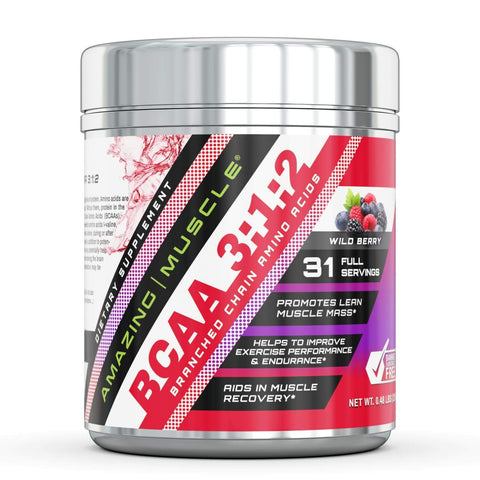 Amazing Muscle BCAA 3:2:1 with Natural Flavor & Sweetners - 31 Servings (Wild Berry)