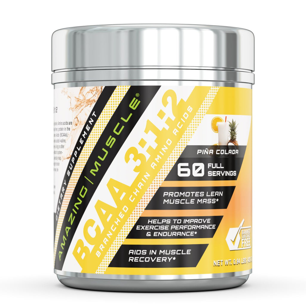 Amazing Muscle BCAA 3:1:2 with Natural Flavor & Sweetners 60 Servings Pina Coloda