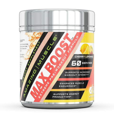 Image of Amazing Muscle Max Boost- Advanced Pre-Workout Formula - 60 Servings (Cherry Lemonade)