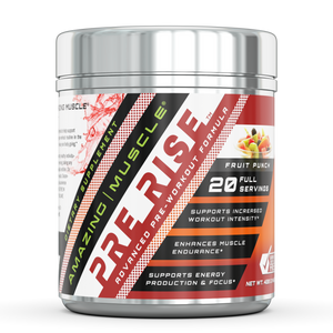 Amazing Muscle – PRE-Rise-Advance Pre-Workout - 400 Gram (Fruit Punch) Formula with BCAAs, Creatine HCL and More – Caffeine-Free - Promotes Energy for an Intense Workout,Supports Lean Muscle Mass And Benefits The Brain