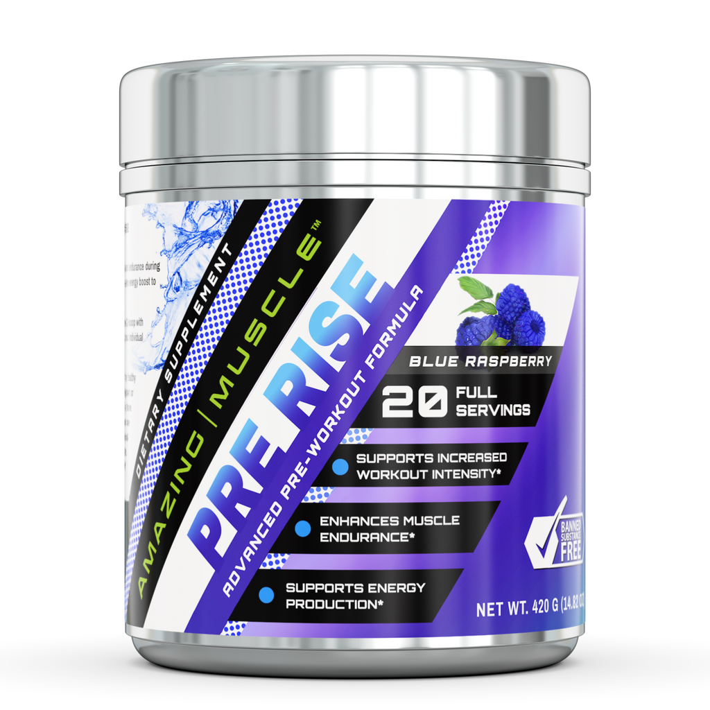 Amazing Muscle - Pre Rise Advanced Pre-Workout Formula - 20 servings (Blue Raspberry)
