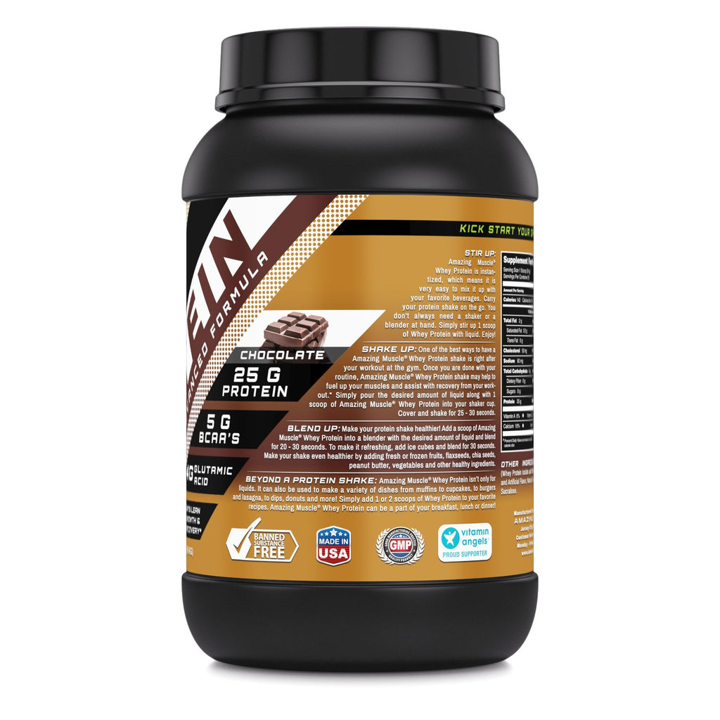Amazing Muscle Whey Protein (Isolate & Concentrate) 2 Lbs Cookies & Cream Flavor