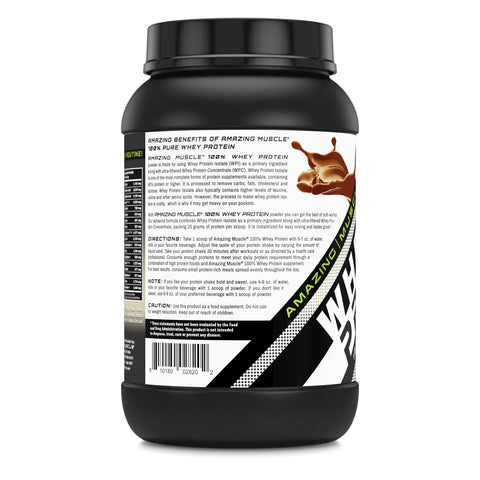 Image of Amazing Muscle Whey Protein (Isolate & Concentrate) - 2 Lb, Cookies & Cream Flavor