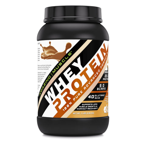 Image of Amazing Muscle Whey Protein Isolate & Concentrate 2 Lbs Peanut Butter Flavor