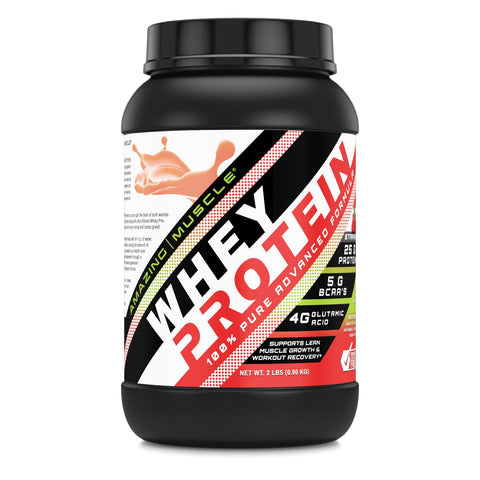 Image of Amazing Muscle Whey Protein Isolate & Concentrate 2 Lbs Strawberry Flavor