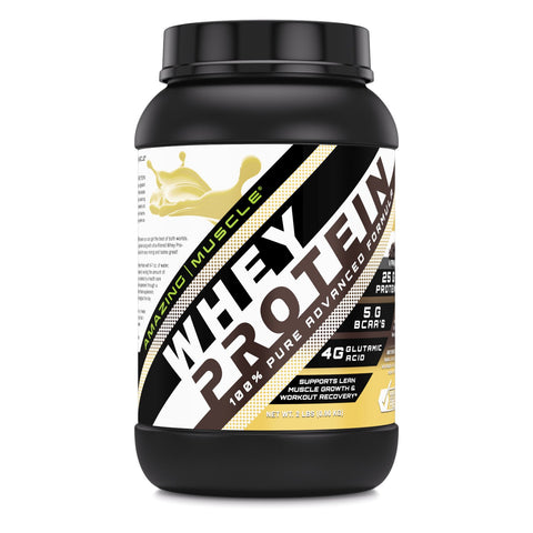 Image of Amazing Muscle Whey Protein (Isolate & Concentrate) - 2 Lb, Vanilla Flavor