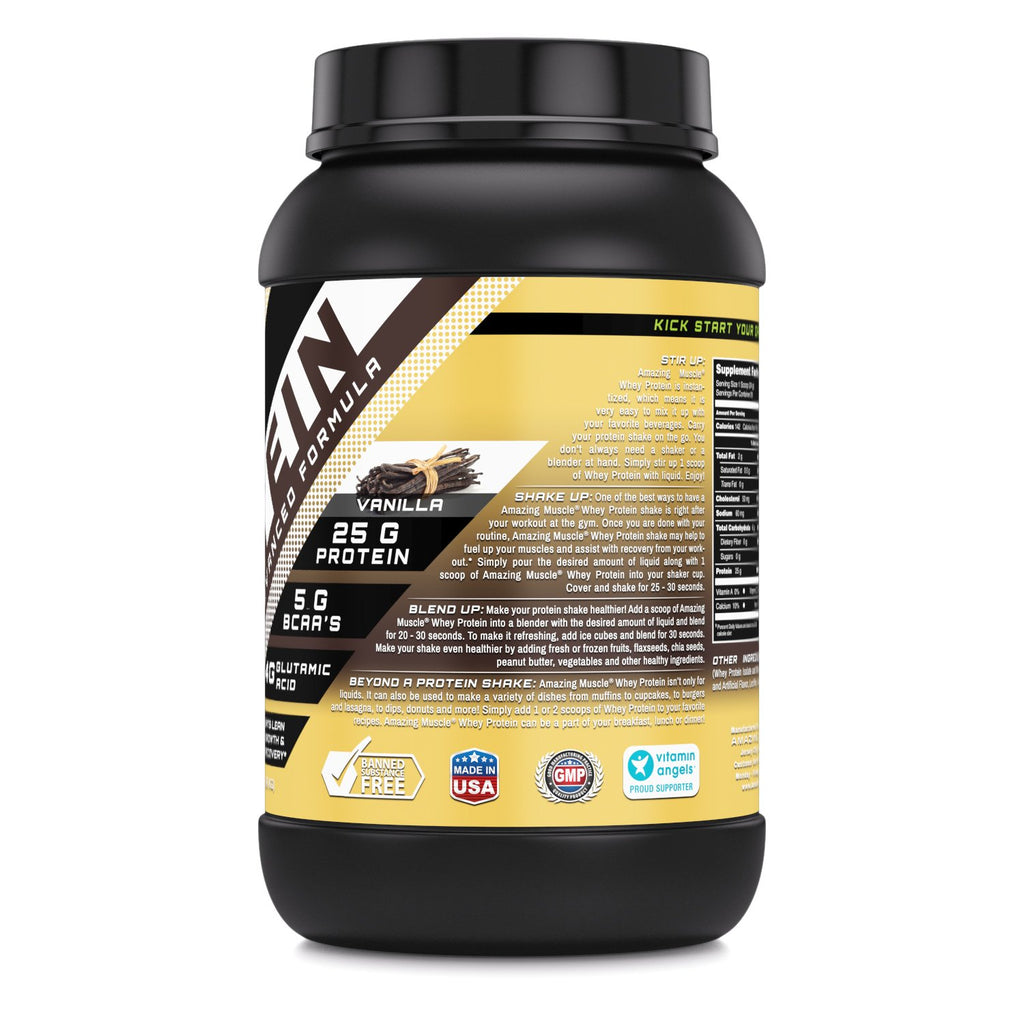 Amazing Muscle Whey Protein (Isolate & Concentrate) - 2 Lb, Cookies & Cream Flavor