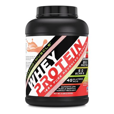Image of Amazing Muscle Whey Protein (Isolate & Concentrate) 5 Lb Strawberry Flavor