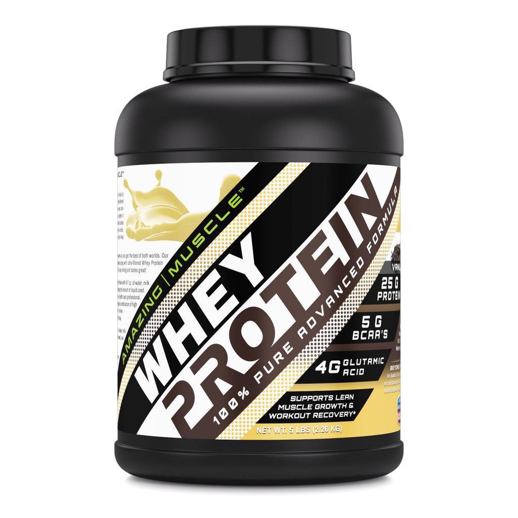 Amazing Muscle Whey Protein (Isolate & Concentrate)  5 Lb Vanilla Flavor