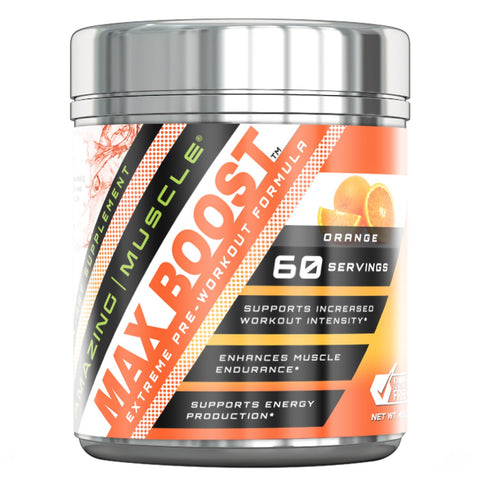 Image of Amazing Muscle Max Boost Advanced Pre-Workout Formula 60 Servings (Orange)