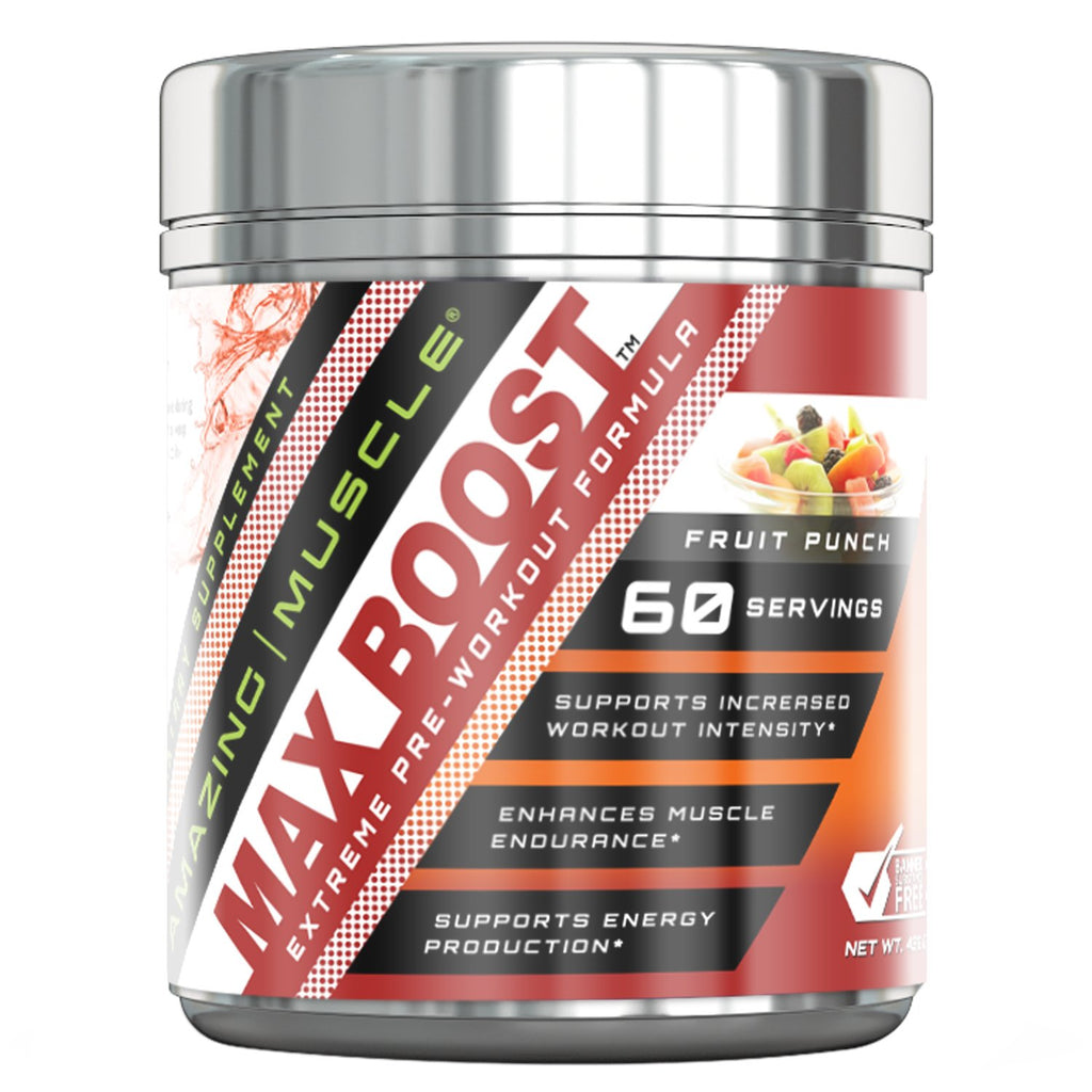 Amazing Muscle Max Boost- Advanced Pre-Workout Formula - 60 Servings (Fruit Punch)