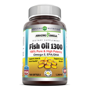 Amazing Omega 3 Fish Oil 1300 Mg 180 Softgels