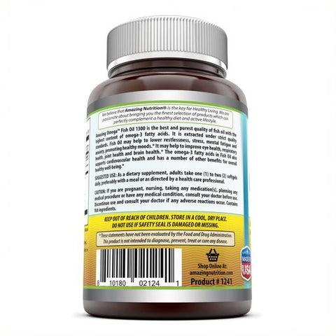 Image of Amazing Omega 3 Fish Oil 1300 Mg 180 Softgels