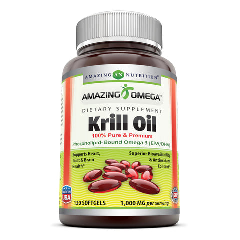 Amazing Omega Krill Oil with Omega 3s EPA, DHA  1000mg per Serving 120 softgels  Phospholipids and Astaxanthin(Non-GMO,Gluten Free) - Supports Heart, Joint & Brain Health