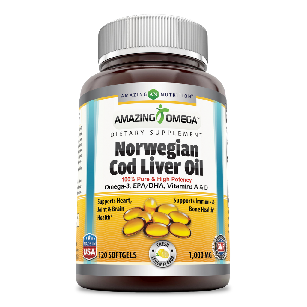 Amazing Omega Norwegian Cod Liver Oil Lemon Flavor 1000 Mg 120 Softgels