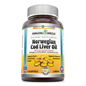 Amazing Omega Norwegian Cod Liver Oil Orange Flavor 1000 Mg 120 Softgels
