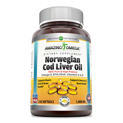 Amazing Omega Norwegian Cod Liver Oil 1000 Mg, Softgels (Lemon, 250 Count) -Supports Heart, Joint, Brain, Bone & Immune Health (Non-Gmo,Gluten Free)