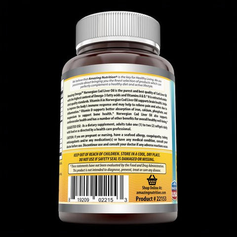 Image of Amazing Omega Norwegian Cod Liver Oil Lemon Flavor 1000 Mg 120 Softgels