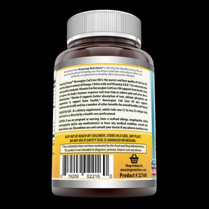 Amazing Omega Norwegian Cod Liver Oil - 1000 mg, 120 Softgels (Fresh Orange Flavor) - Purest & Best Quality Cod Liver Oil, Extracted Under Strict Quality Standards from Around The Waters of Norway Anti-Inflammantory Properties Best Source Of Vitamin A & D