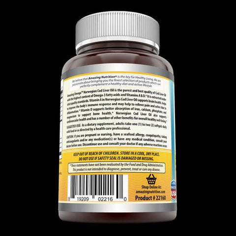 Image of Amazing Omega Norwegian Cod Liver Oil - 1000 mg, 120 Softgels (Fresh Orange Flavor) - Purest & Best Quality Cod Liver Oil, Extracted Under Strict Quality Standards from Around The Waters of Norway Anti-Inflammantory Properties Best Source Of Vitamin A & D