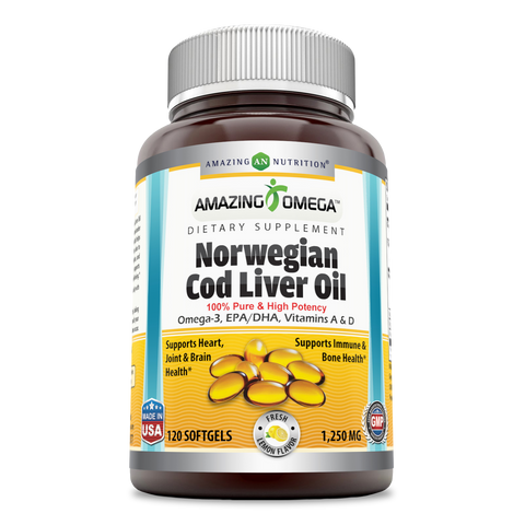 Amazing Omega Norwegian Cod Liver Oil 1250 Mg 120 Softgels Lemon Flavor