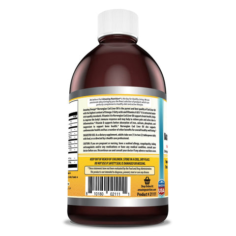 Amazing Omega Norwegian Cod Liver Oil 16 Oz 473 Ml Fresh Lemon - Purest & Best Quality Cod Liver Oil, Extracted Under Strict Quality Standards - Supports Heart, Joint, Brain, Bone & Immune Health