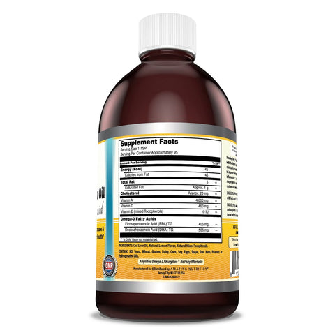Image of Amazing Omega Norwegian Cod Liver Oil 16 Oz 473 Ml Fresh Lemon - Purest & Best Quality Cod Liver Oil, Extracted Under Strict Quality Standards - Supports Heart, Joint, Brain, Bone & Immune Health