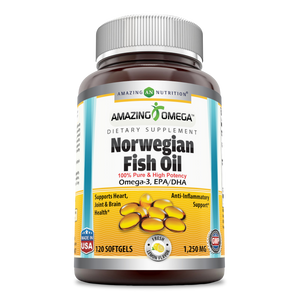 Amazing Omega Norwegian Fish Oil 1250mg 120 Softgels Lemon Flavor