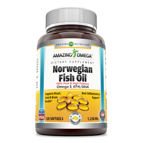 Amazing Omega Norwegian Fish Oil 1250mg 120 Softgels (Lemon Flavor) (Non GMO,Gluten Free) -Supports Anti-inflammatory, Heart, Joint & Brain Health