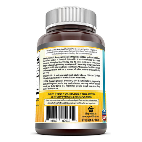 Image of Amazing Omega Norwegian Fish Oil 1250mg 120 Softgels (Non GMO,Gluten Free) -Supports Anti-inflammatory, Heart, Joint & Brain Health