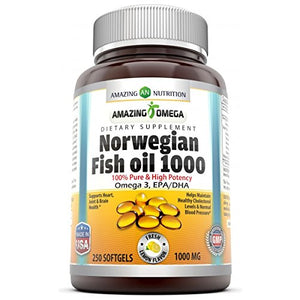Amazing Omega Norwegian Fish Oil Fresh Lemon Flavor 1000 Mg 250 Softgels