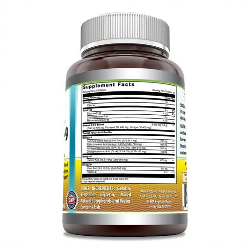Amazing Omega Omega 3.6.9 1200 Mg 250 Softgels