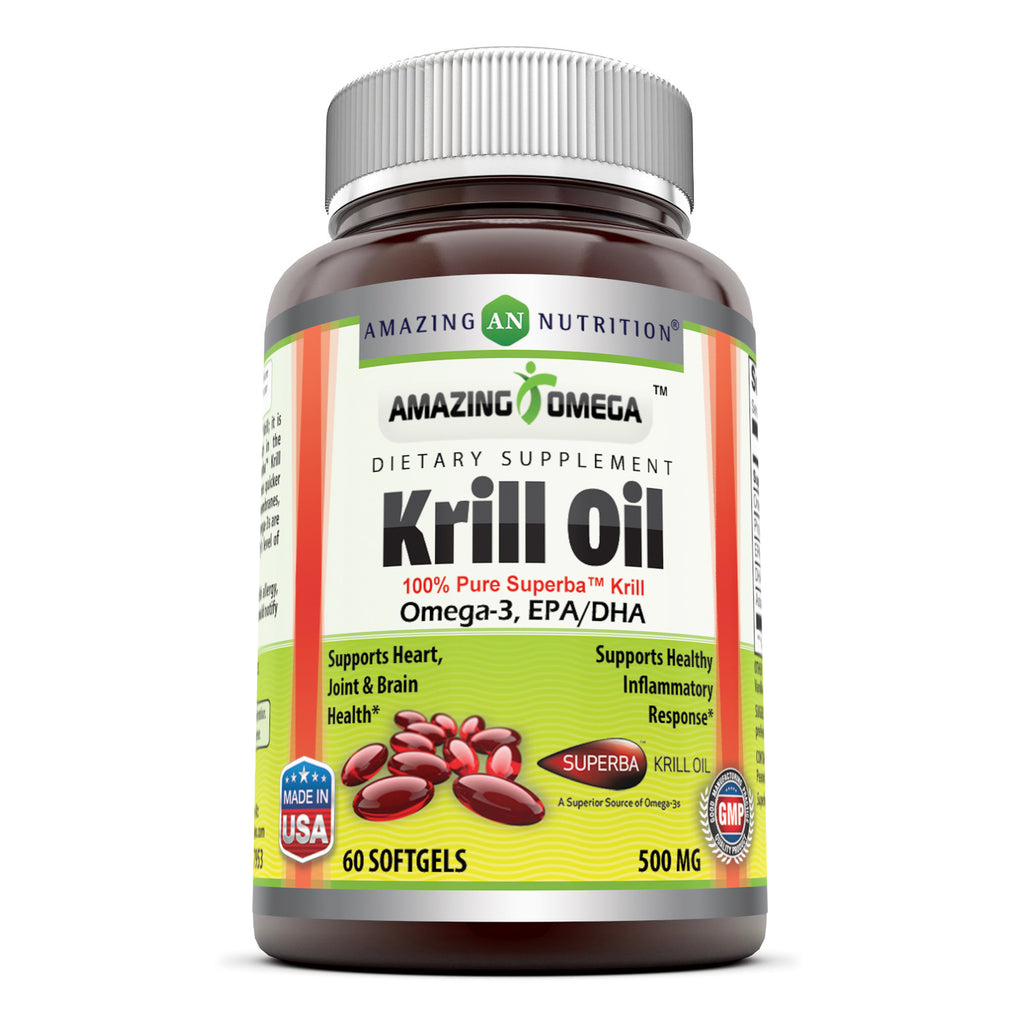 Amazing Omega Superba Krill Oil 500 Mg 60 Softgels