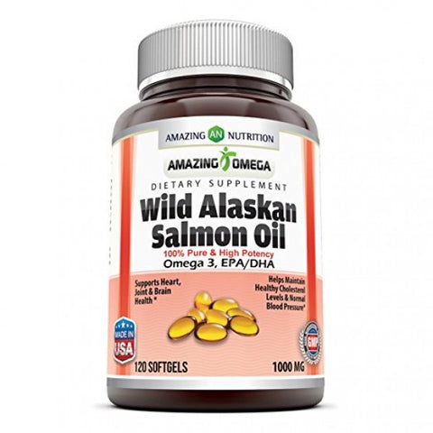 Image of Amazing Omega Wild Alaskan Salmon Oil 1000 Mg 120 Softgels