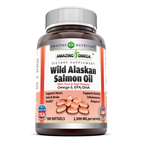 Amazing Omega Wild Alaskan Salmon Oil - 2000 mg (180 Softgels) of Salmon Oil Per Serving, 180 Softgels (Non-GMO) - Supports Heart, Joint & Brain Health and Promotes Healthy inflammatory Response