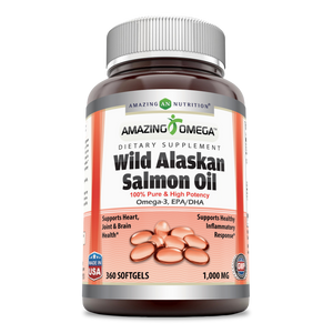 Amazing Omega Wild Alaskan Salmon Oil 1000 Mg 360 Softgels