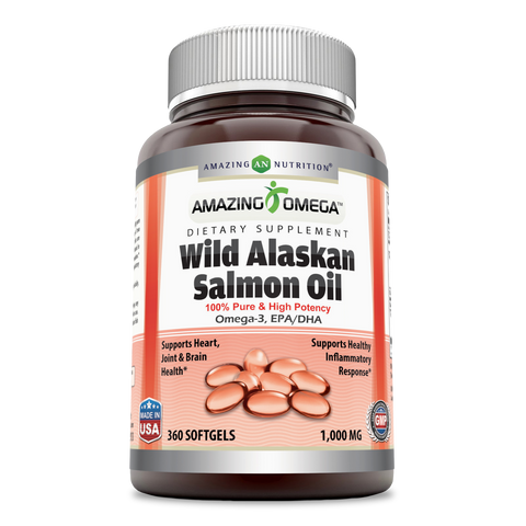Image of Amazing Omega Wild Alaskan Salmon Oil 1000 Mg 360 Softgels