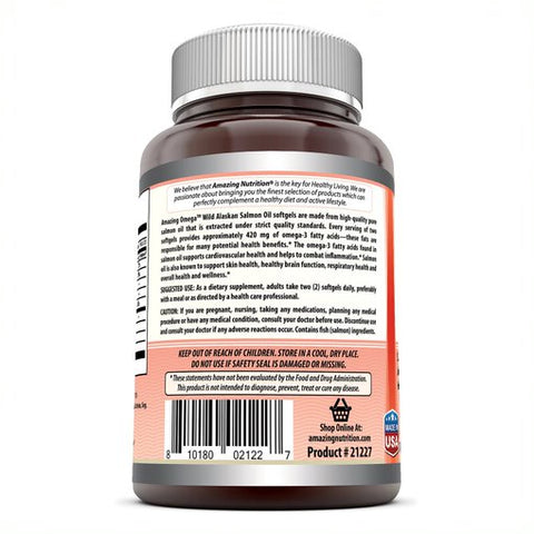 Image of Amazing Omega Wild Alaskan Salmon Oil - 2000 mg (180 Softgels) of Salmon Oil Per Serving, 180 Softgels (Non-GMO) - Supports Heart, Joint & Brain Health and Promotes Healthy inflammatory Response
