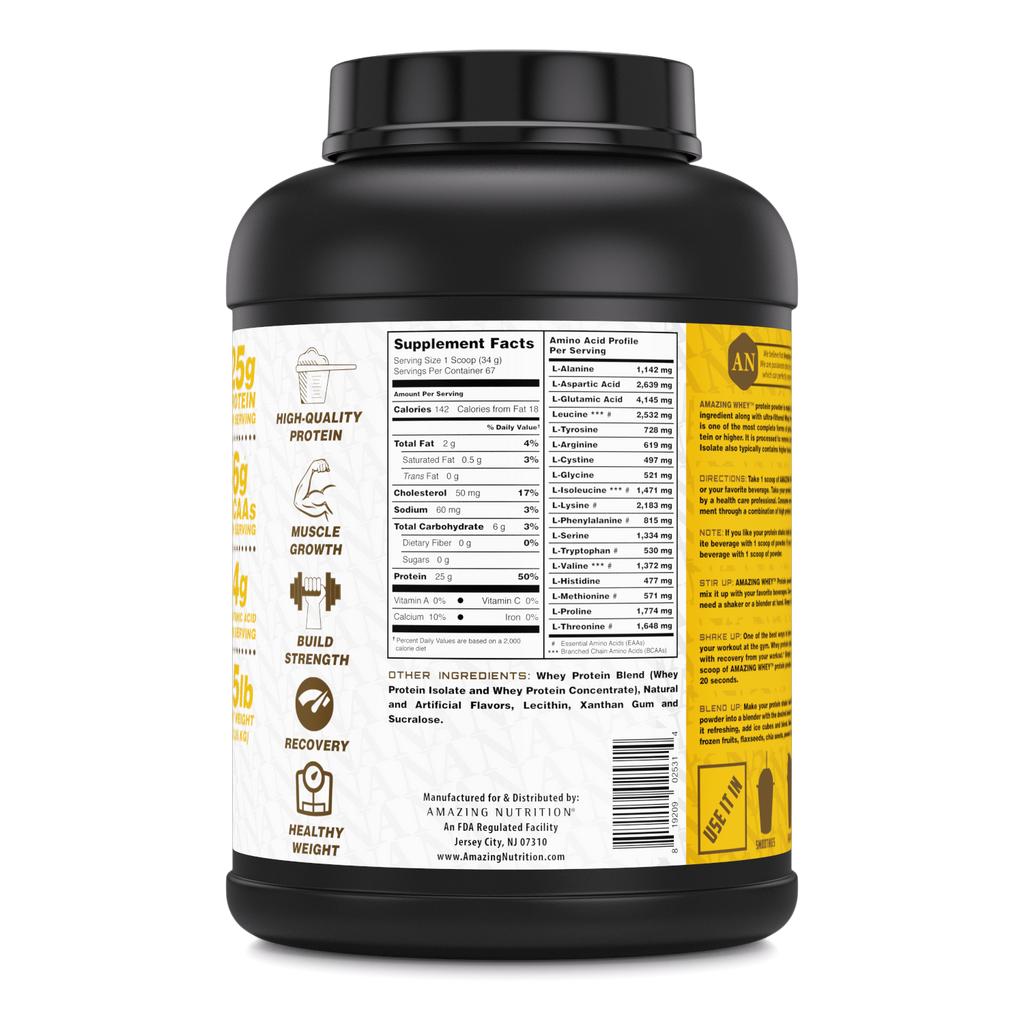Amazing Whey Whey Protein (Isolate & Concentrate) - 5 Lb, Banana Flavor