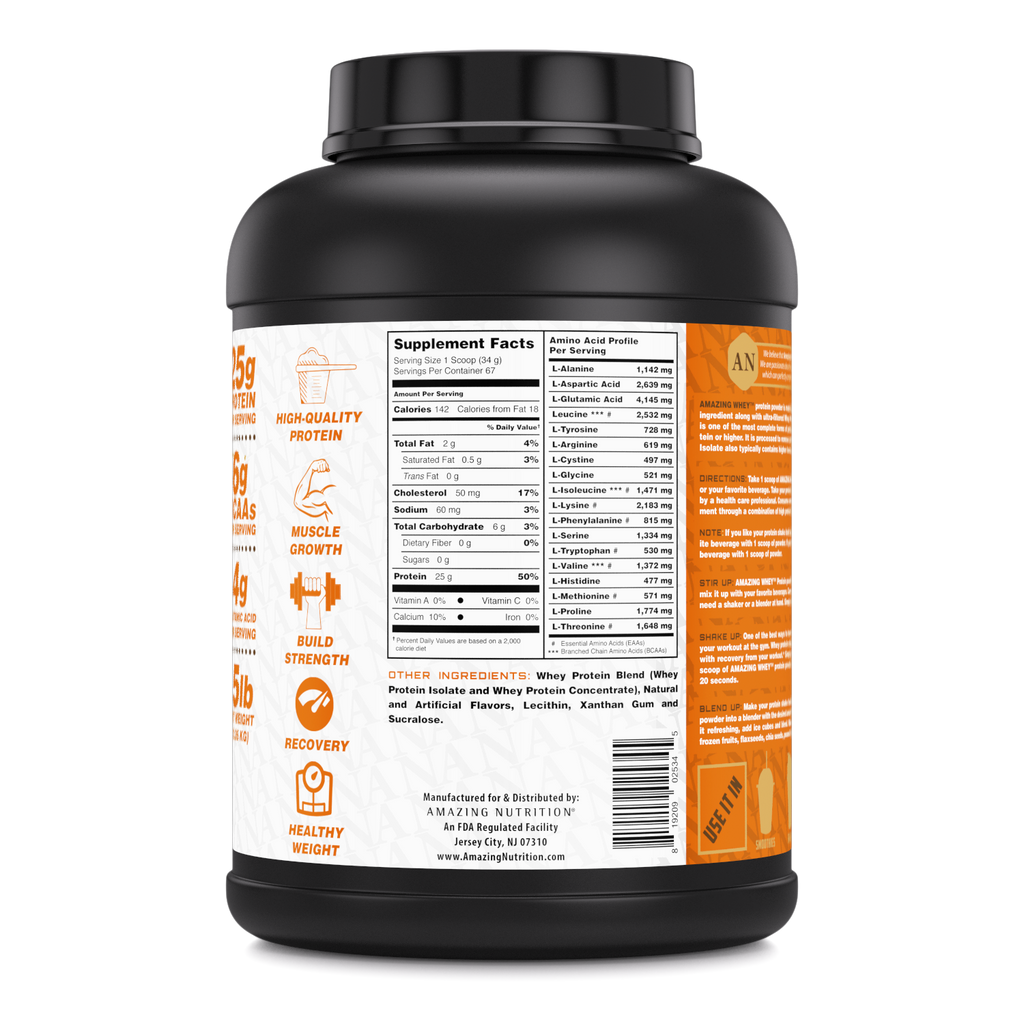 Amazing Whey Whey Protein (Isolate & Concentrate) - 5 Lb, Peanut Butter Flavor
