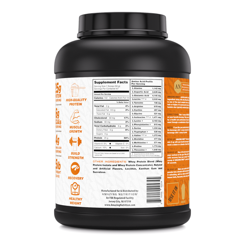 Image of Amazing Whey Whey Protein (Isolate & Concentrate) - 5 Lb, Peanut Butter Flavor
