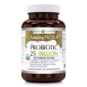 Amazing Flora - USDA Certified Organic Probiotic 25 Billion - 13 Probiotic Strains - 60 Organic Tablets
