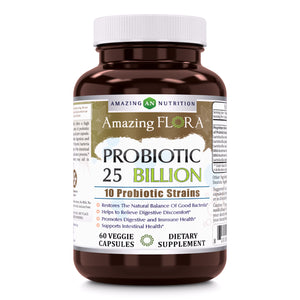 Amazing Flora Probiotic 25 Billion 60 Veggie Capsules - Amazing Nutrition