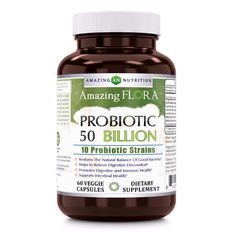 Image of Amazing Flora 50 Billion Probiotic 60 Veggie Capsules - Amazing Nutrition