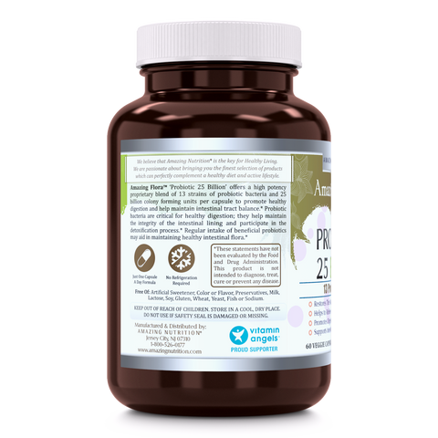 Image of Amazing Flora Probiotic 13 Strains 25 Billion 60 Vegetarian Capsules - Amazing Nutrition