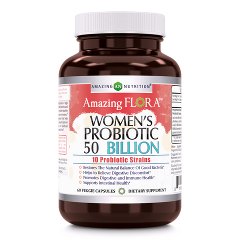 Amazing Flora Womens 10 Probiotic Strains 50 Billion 60  Veggie Capsules