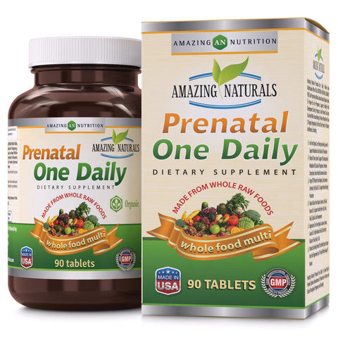 Image of Amazing Naturals PRENATAL ONE DAILY Multivitamin 90 Tablets