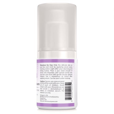 Image of Beauty Aura Age Erase Facial Serum- 2 fl oz. with DMAE, MSM, Aloe Vera, Green Algae. 63% Organic. Gluten Free. Improves Firmness - Enhances Radiance!